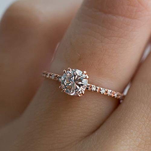 QIAOYING Rose Gold Plated 2ct Round CZ 4 Prongs Simulated Diamond Solitaire Wedding Engagement Rings for Women (6)