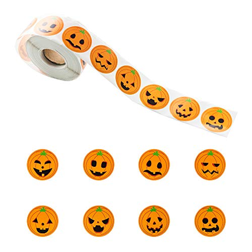 800 Pieces Pumpkin Stickers Halloween Roll Stickers Round Circle Face Stickers for Halloween Party Decoration