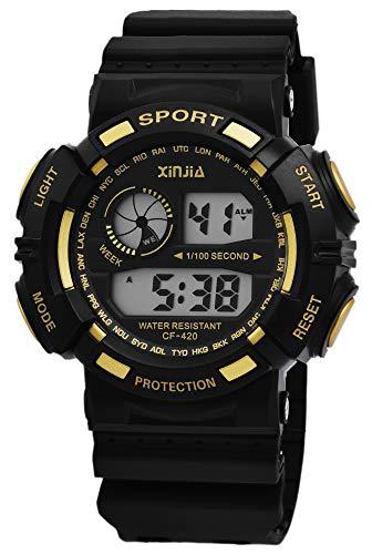 Xinjia Protection - Reloj Digital de Pulsera para Hombre (Cuarzo, Silicona, con Alarma, cronómetro, Fecha), diseño Retro, Color Negro y Amarillo