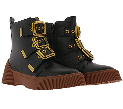 xyxyx Stiefelette dekorative Damen Boots mit großen Schnallen Freizeit-Boots Herbst-Schuhe Schwarz, Größe:37