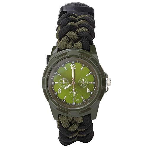 Zer one Outdoor Multifunktions Überlebensuhr, Camping Multi Tool Kompass Thermometer Rettungsseil Paracord Notüberlebens Armband Armband