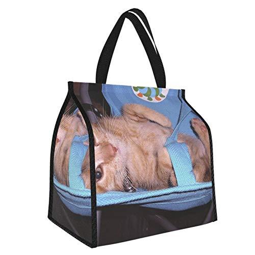 Bolsa de almuerzo con aislamiento para cochecito de gatito, reutilizable, suave, resistente al agua, a prueba de fugas, para el trabajo, picnic o viajes