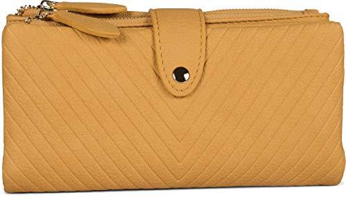styleBREAKER Damen Portemonnaie mit V-Förmig geprägter Struktur, Druckknopf, Reißverschluss Geldbörse 02040124, Farbe:Curry