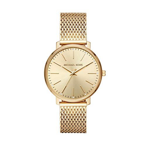 Michael Kors Women's Pyper Quartz Watch with Stainless-Steel-Plated Strap, Gold, 18 (Model: MK4339)