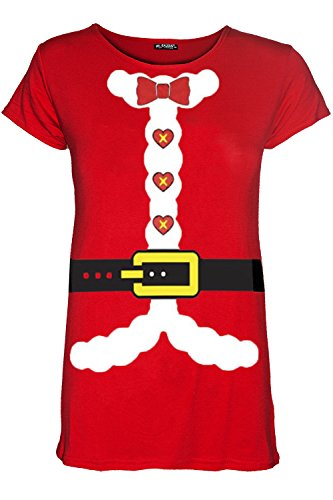 Preisvergleich Produktbild Oops Outlet Damen Frauen Weihnachten Glitzer Santa Vater Bart Kostüm Gürtel T-Shirt Top