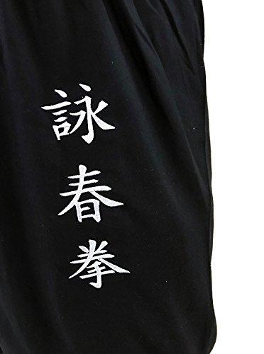 Pantaloni Tai Chi Ampia Tazza Uomo Donna Bambino Pantaloni da Yoga Qigong Aperto alle Caviglie (Nero, Taglia L)