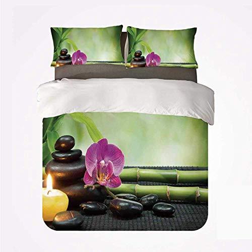 Yoyon Funda nórdica Set SPA Decor Warm 3 Juego de Cama, Tallos de bambú de orquídea Piedras de Chakra Diseño de Terapia de Elementos de Feng Shui Alternativo japonés para la habitación