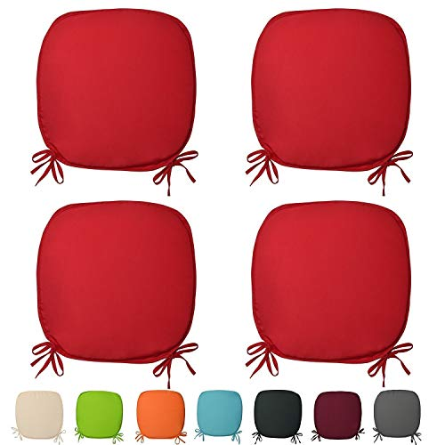 Set Of 4 Beautiful REMOVABLE Dining Garden Chair Cushion Seat Pads With Ties (Red)