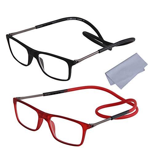 2-Pack Gafas de Lectura Magnéticas Plegables para Hombre y