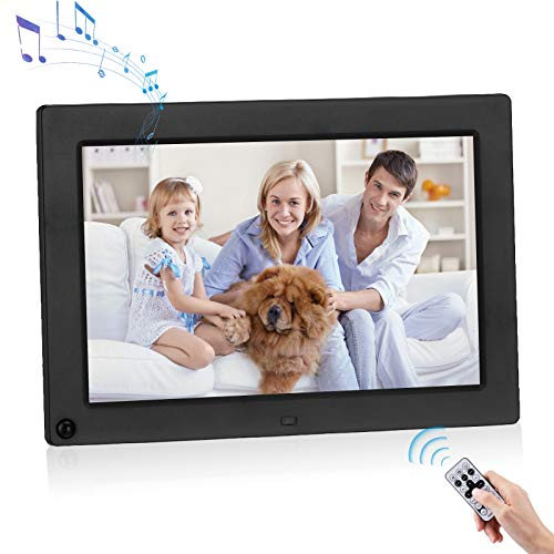 Powerextra 10.1 inch Digital Photo Frame 1280x800 Digital Picture Frame 16:9 IPS Screen Display HD Video Frame Support Motion Sensor and Photos Auto Rotate