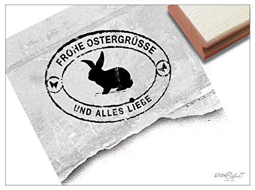Stempel Osterstempel FROHE OSTERGRÜSSE. Poststempel im Vintage-Look, Osterhase - Ostern Karten Geschenkanhänger Geschenk Osterdeko - zAcheR-fineT