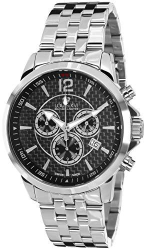 LOUIS XVI Herren-Armbanduhr Athos Stahlband Silber Schwarz Karbon Chronograph Analog Quarz Edelstahl 801