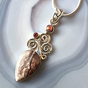 Australian Crazy Lace Agate, Garnet, Fire Opal, 925 Sterling Silver Pendant Necklace