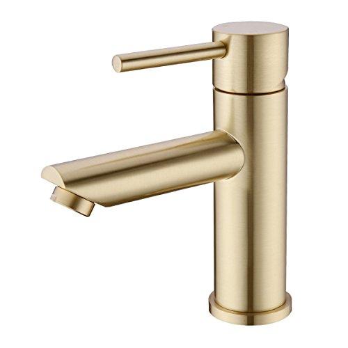 Trustmi Messing gebürstet Gold Einhebel Bad Becken Mischbatterie Waschbecken Wasserhahn, kurz