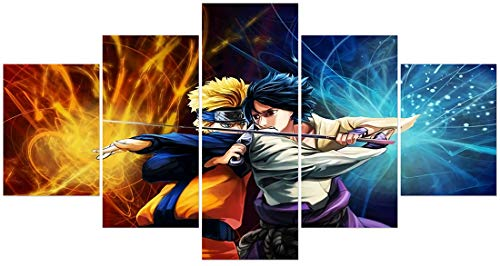 Naruto Póster de Naruto y Sasuke condenado Battle Anime pintura de pared sin marco para decoración de dormitorio