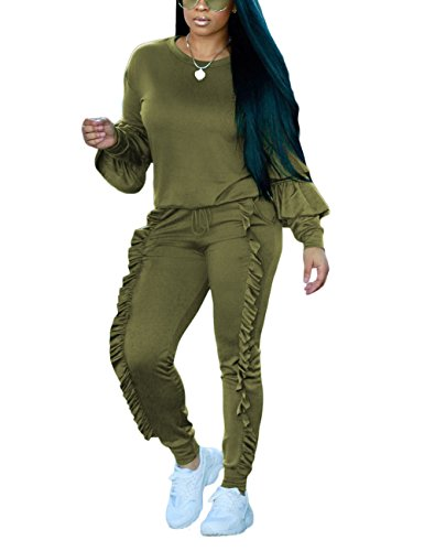 Akmipoem Autumn Long Sleeve Hoodie and Pants Two Piece Set Sweatsuits For Teen Girls,Army Green,XX-Large/US18