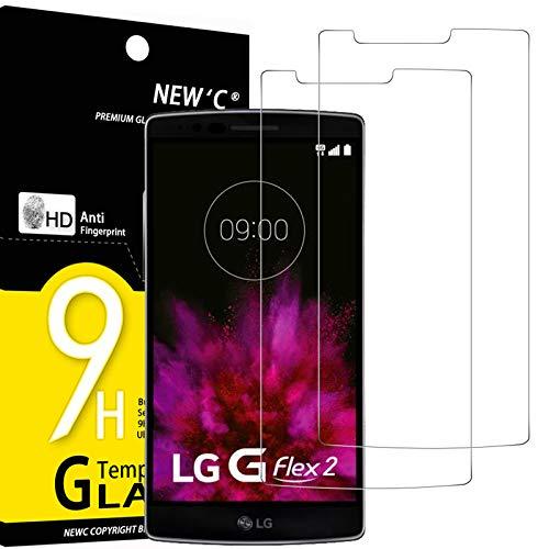 NEW'C 2 Stück, Schutzfolie Panzerglas für LG G Flex 2, Frei von Kratzern, 9H Festigkeit, HD Bildschirmschutzfolie, 0.33mm Ultra-klar, Ultrawiderstandsfähig