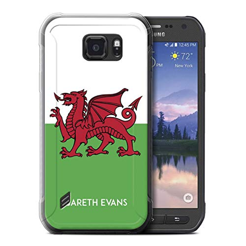 eSwish Personalisiert Persönlich National Nation Flagge 2 Gel/TPU Hülle für Samsung Galaxy S6 Active/G890 / Wales/Walisisch Design/Initiale/Name/Text Schutzhülle/Hülle/Etui