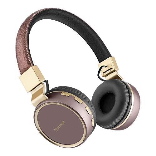 STEREN Audífonos de Diadema Bluetooth con Reproductor microSD (Cafe)