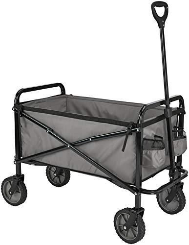 Amazon Basics - Carreta plegable para jardín y aire libre con bolsa de cubierta, gris
