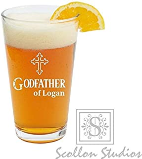 74b53b1d66a Godparent Gift, Personalized Godfather Gift, Pint Glass, Beer Glass,Will  You Be
