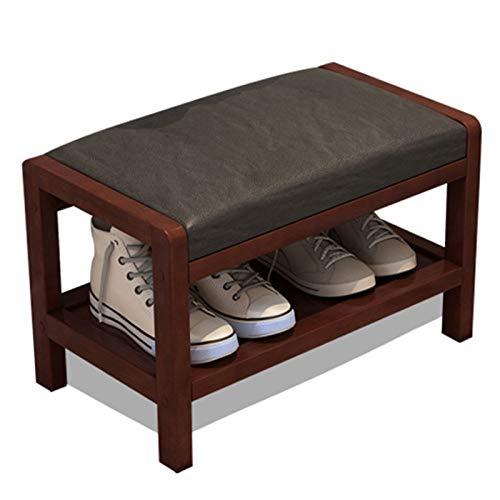 WHOJA Zapatero con cojín de PU Estante de 1 Piso Banco de Zapatos de Madera Maciza Adecuado for Pasillo de Sala de Estar de Dormitorio Taburete de sofá 2 tamaños Estantería