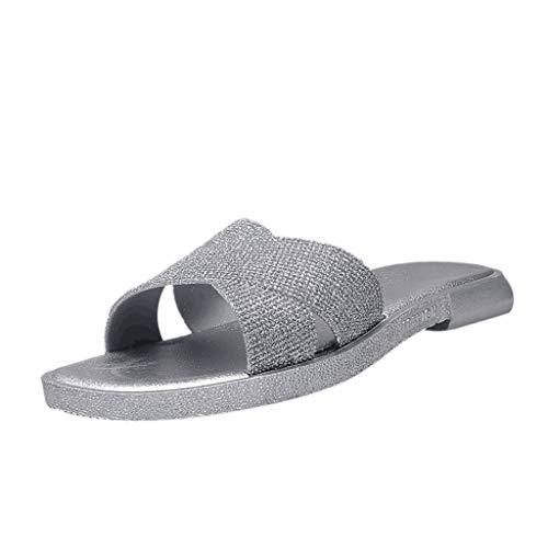 Damen Hausschuhe Sommerschuhe Strandschuhe Badeschuhe Outdoorschuhe Wasserdicht Frauen Mädchen Sommer Flip Flops Schuhe Flach Sandalen Slipper mit Rutschfest Weiche Sohle (EU:41, Silber)