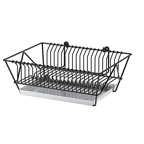 Juego de 2 escurreplatos IKEA FINTORP 37,5 x 29 x 13,5 cm, color negro y galvanizado