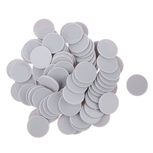 Milageto 100x 25MM Plastik Casino Poker Chips Bingo Marker Token Spielzeug Geschenk - Silber+Weiß, /