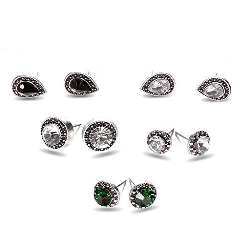 MEEOI Pendientes de aro de plata de ley 925 de para mujer Pendientes de aro, que 5 pares de joyas con deslumbrantes pendientes bohemios de cristal azul y blanco y piedras preciosas de color ne
