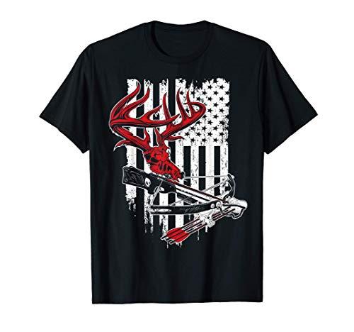 American Flag Archery Bow Hunting - Deer Skull Crossbow T-Shirt
