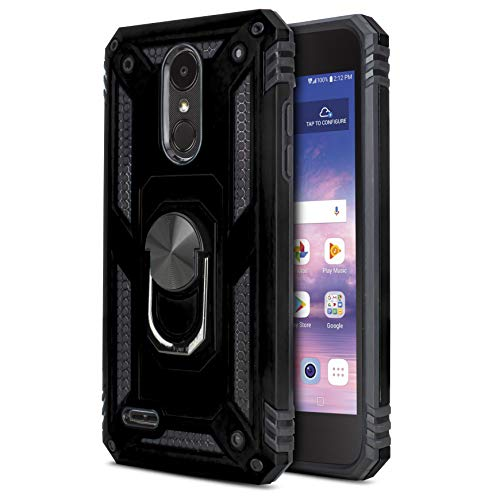 CasemartUSA Phone Case for [LG Rebel 4 (L212VL, L211BL)], [Loop Series][Black] Full Rotating Metal Ring Cover with Kickstand for LG Rebel 4 (Tracfone, Simple Mobile, Straight Talk, Total Wireless)