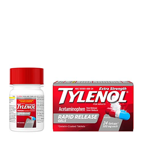 Tylenol Extra Strength Acetaminophen Rapid Release Gels, Pain Reliever & Fever Reducer, 24 ct