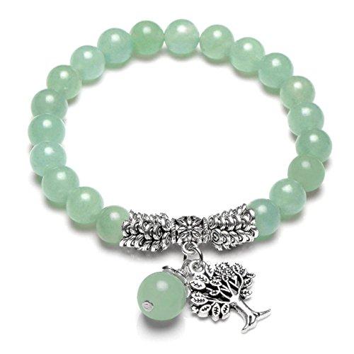 Jsdde - Braccialetto elastico con perline e albero della vita Reiki, gioiello con cristalli di guarigione e pietre portafortuna (16 cm) e Lega, colore: Avventurina verde., cod. GGUK00300