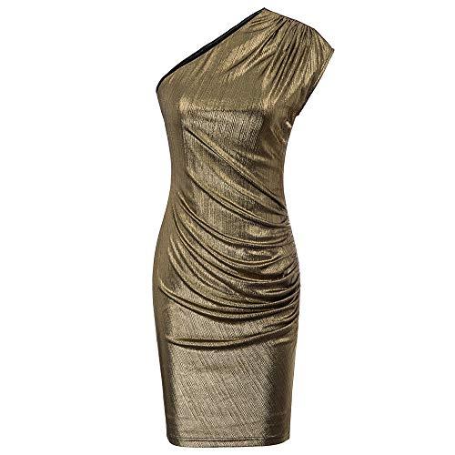 GRACE KARIN Damen One Shoulder Cocktailkleid Hips-Wrapped Bodycon Kleid Midi Kleid XL Gold CL917-2