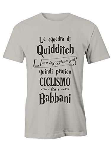T-Shirt Harry Potter Ciclismo - Gioco tra i babbani- Quidditch - Hogwarts - Grifondoro - Serpeverde - Corvonero - Magliette Simpatiche e Divertenti