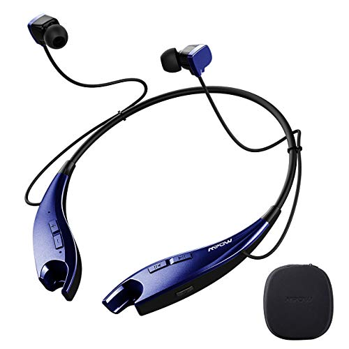 Mpow Jaws Gen-4 Bluetooth Headphones W/Portable Case, Lightweight Wireless Neckband Headset W/Call Vibrate, 13 Hours Playtime, CVC 6.0 Noise Cancelling Mic, Bluetooth Headset Magnetic, Blue