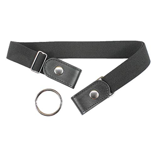 No Buckle Belt for Women and Men Comfortable Adjustable Invisible Stretch Waist Belt (Black)