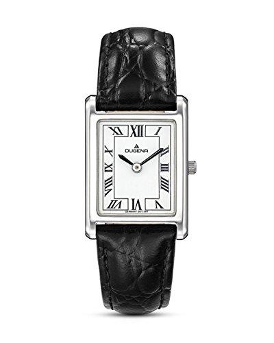 Dugena Damen Armbanduhr Quadra Classica Leder schwarz-silber-weiß