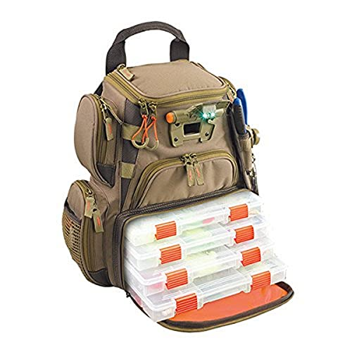 Wild River by CLC WT3503 Tackle Tek Recon Lighted Compact Tackle Backpack & Four PT3500 Trays, Clear, Water-Resistant Phone Storage