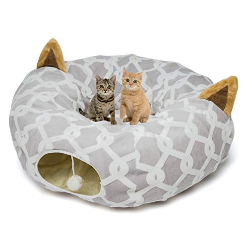 Large Cat Dog Tunnel Bed with Washable Cushion-Big Tube Playground Toys Plush 3 FT Diameter Longer Crinkle Collapsible 3 Way,Gift for Small Medium Large Kitten Puppy Rabbit Ferret Outdoor Grey Gray