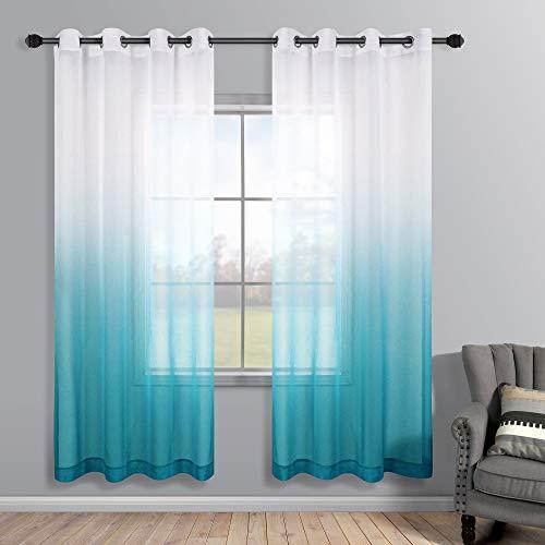 Blaugrüne Vorhänge 183 cm Länge für Schlafzimmer Dekor Set von 2 Paneelen Ösen halbdurchsichtige Ombre Bilder Fenster Vorhänge für Wohnzimmer Esszimmer Mädchen Raumteiler 132 x 183 cm lang
