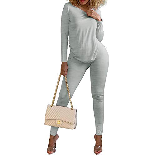 2 Pieces Outfit Sets Women's Spring Round Neck T-Shirts Stretchy Bottoms Gym Sweatshirts Grey