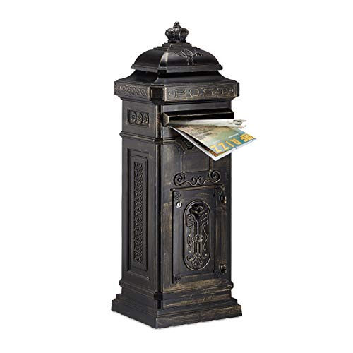 Relaxdays Standbriefkasten Antik, britisches Design, rostfreies Aluminium, HBT 101x34,5x31 cm, Säulenbriefkasten, bronze