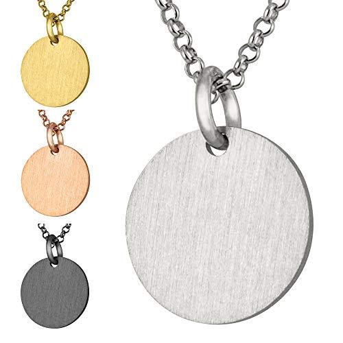 modabilé Halskette Damen mit Ketten-Anhänger Circle 925 Sterling Silber (45cm I 1,2mm breit) I 925er Silberkette Silber Rhodiniert mit Kreis-Anhänger Rund f. Frauen mit Etui I Produziert in Europa