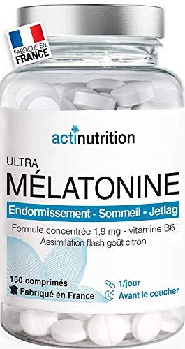 Mélatonine 1,9mg - 150 nuits : Action Rapide - Régulateur de l'horloge biologique | Pulsions de grignotage | Fabriqué en France | Endormissement serein | Réveil lucide
