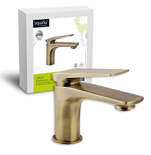 'aquaSu® Einhandmischer Orva für Waschtisch I Bronze I Wasserhahn I Einhebelmischer I Armatur I Mischbatterie