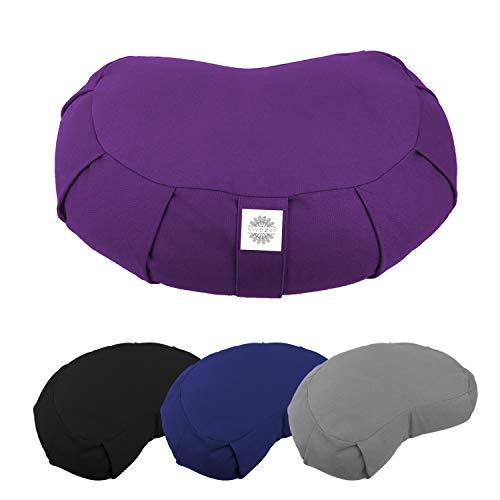 Vivezen ® Pouf, zafu, coussin de méditation, yoga - Demi-lune - 44 x 27 x 13 cm - 4 coloris - Norme CE