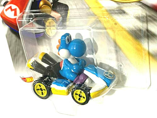 DieCast Hotwheels Mario Kart Light-Blue Yoshi (Standard Kart) 1:64 Scale