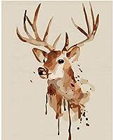 クロスステッチキット刻印刺繡-スプラッシュインク鹿-大人の初心者スターターキット-11CTDIYクロスステッチ針仕事フルレンジのプリントパターン工芸品家の装飾ギフト16x20インチ